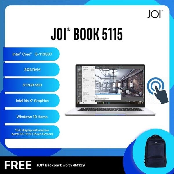 JOI Book Laptop 5115 Touch (Intel Core i5-1135G7 4.20Ghz,512GB SSD,8GB,15.6FHD Touch,W10) Malaysia