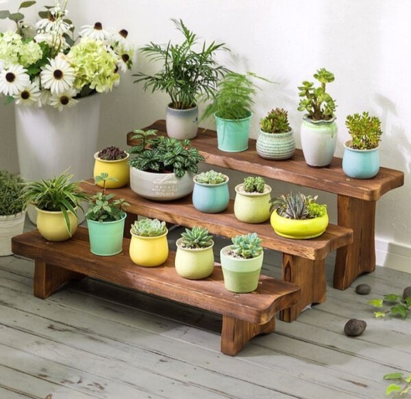 Solid wood living room installation balcony flower stand