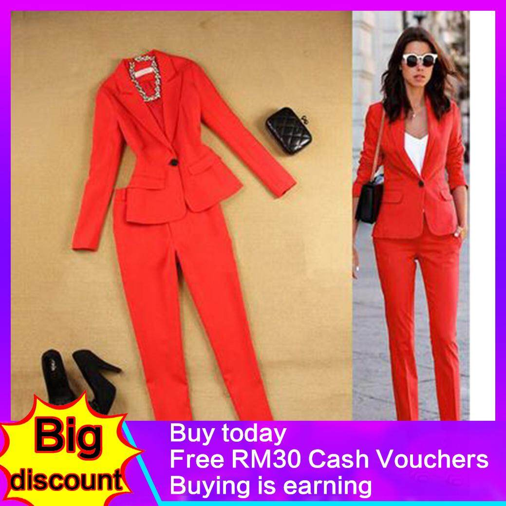8e176977ca Fashion Suit Female Career Suit Jacket and Long Sections Temperament Casual  Two-piece Pants TideThe