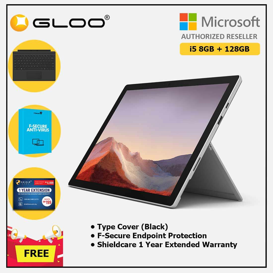 Microsoft Surface Pro 7 Core i5/8G RAM - 128GB Platinum - VDV-00012 + Surface Pro Type Cover Black + Shield Care 1 Year + F-Secure 1 Year[FOC RM100 Aeon Voucher 21/3/2020 - 31/3/2020 While Stock Last] Malaysia