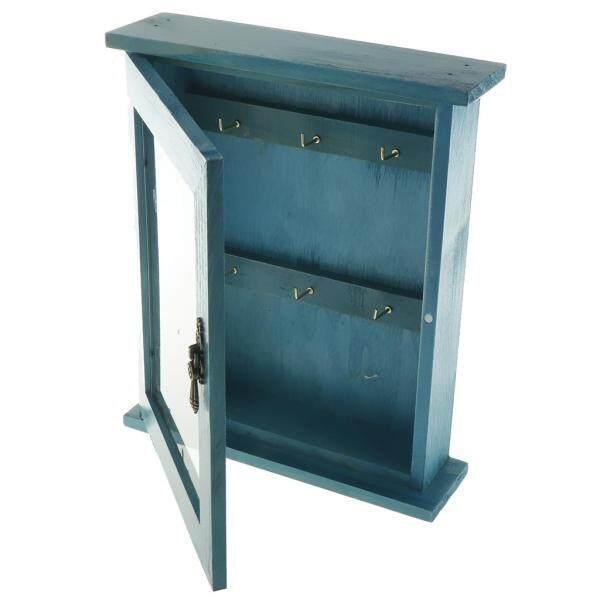 Perfk Easy Installation Key Storage Box- Wooden Key Holder Box Wall Art Decor with Hanging Hooks