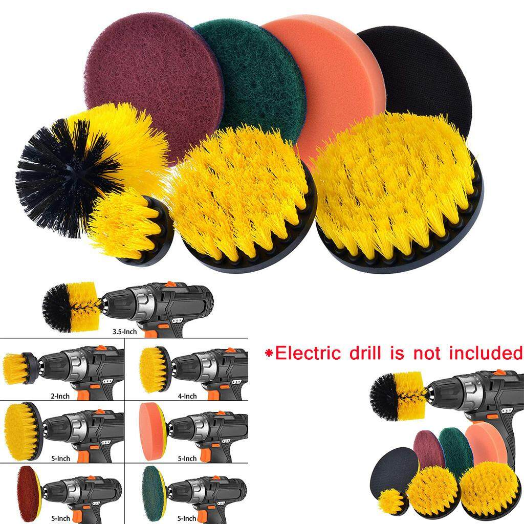 MyAnswer Drill Brush Scrub Pads 8 Piece Power Scrubber Cleaning Kit All Purpose Cleaner Scrubbing Cordless Drill for Cleaning Pool  Free shipping