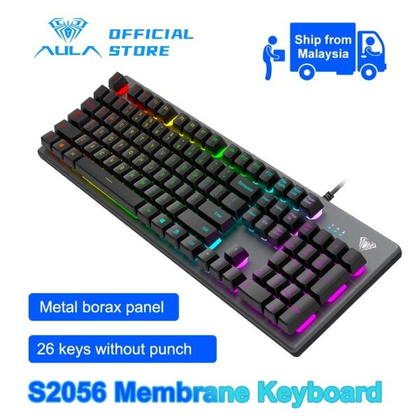 AULA S2056 Membrane Gaming Keyboard, Comfortable Quiet Silent Keys with Multicolor LED Backlit, Customized Functions, Durable Metal Structure, PC Gaming USB Wired Keyboard for Windows/MAC Malaysia