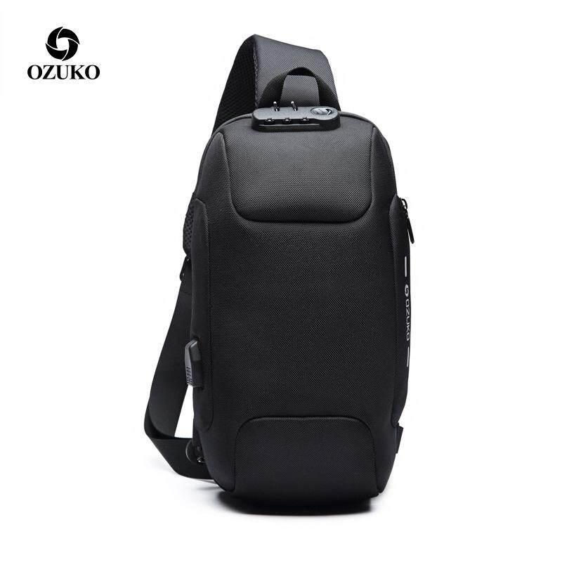 bfe4eb8aea3a ... in Crossbody Bags. OZUKO New Anti-theft TSA Lock Chest Bag  Multi-function Travel Sling Shoulder Bag