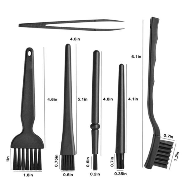 Giá 6 in 1 Plastic Small Portable Handle Nylon Anti Static Brushes Cleaning Keyboard Brush Kit, Black (Zip Bag )