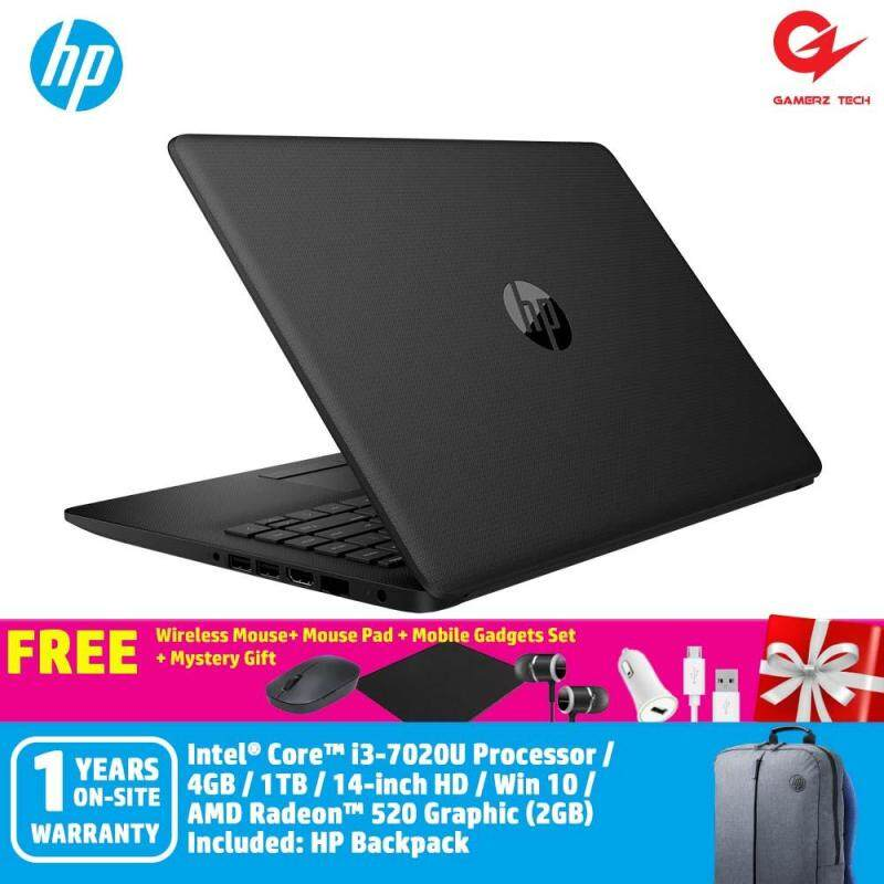 HP 14-ck0020TX Notebook Jet Black /i3-7020U/4GB/1TB + Free Wireless Mouse + Mouse Pad + Mobiles Gadget Set + Mystery Gift Malaysia