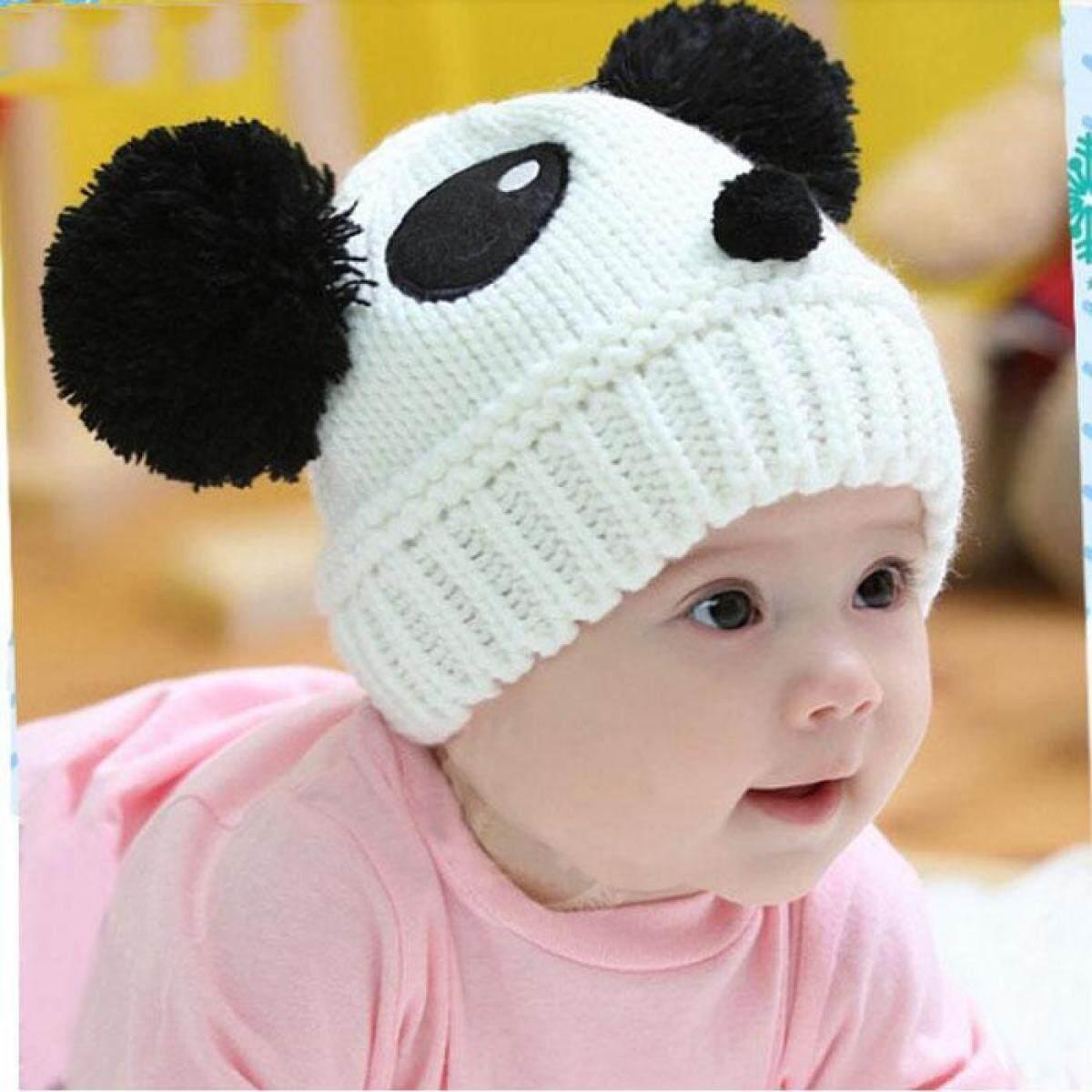 Lucu Anak Bayi Perempuan Anak Laki-laki Elastis Hangat Musim Dingin Panda Topi  Topi Beanie 978675c053