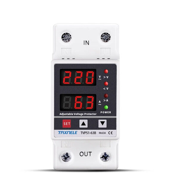 63A 230V Din Rail Adjustable Over Under Voltage Protector Device Protector Relay Over Current Protector