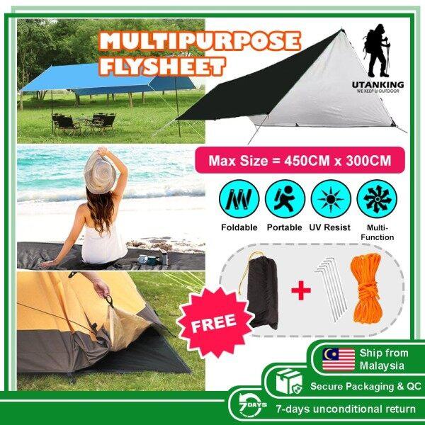 Ultralight Weight Flysheet Waterproof Groundsheet Camping Tarp Shelter Alas Tent Floor Sheet Footprint Bumbung Khemah