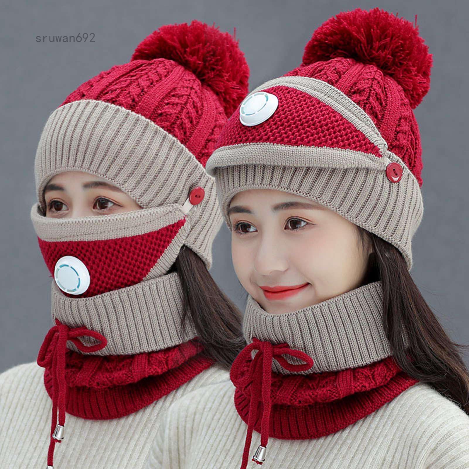 3 Cái/bộ Thời Trang Mùa Đông Cho Nữ Mũ Len Mũ Dệt Kim Len Dày Cap Với Bịt Mặt Giữ Ấm Và Khăn Quàng Cổ
