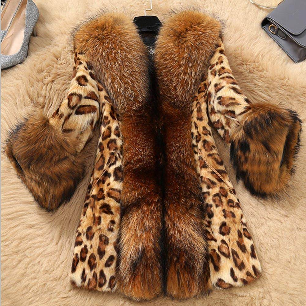Lion Women Faux Fur Collar Classic Leopard Medium Long Coat Jacket By Lion Mei Store.