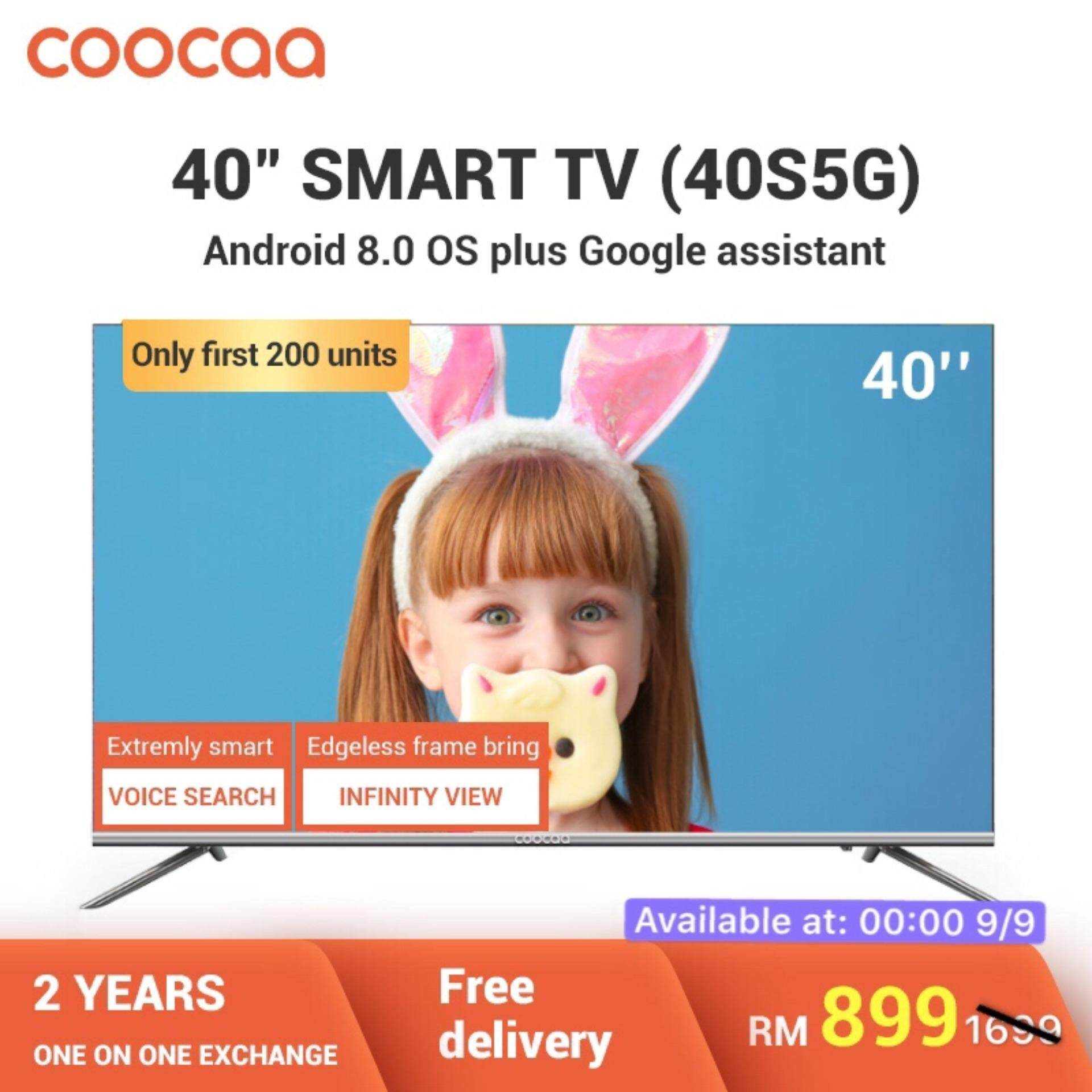 COOCAA 40 Inch Android Smart Frameless FHD LED TV - Slim Wifi Model 40S5G *  FOC Lite Installation Within Coverage Area
