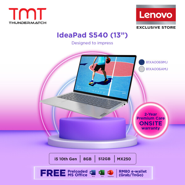 Lenovo Ideapad S540-13IML 81XA0069MJ / 81XA006AMJ Laptop ( i5-10210U, 8GB D4, 512GB SSD, 13.3 QHD,NVD MX250 , OPI Home and Student) Malaysia