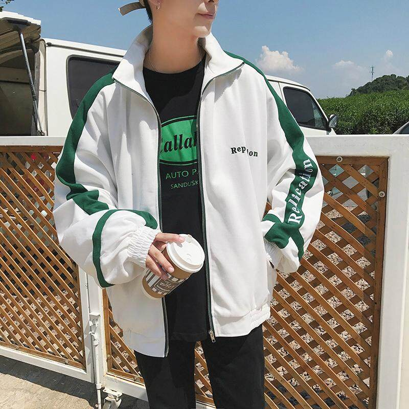 20bb80dd6c8 Spring Jackets Men Plus Size Turn-down Collar Loose Zipper Letter Printed  Simple All-