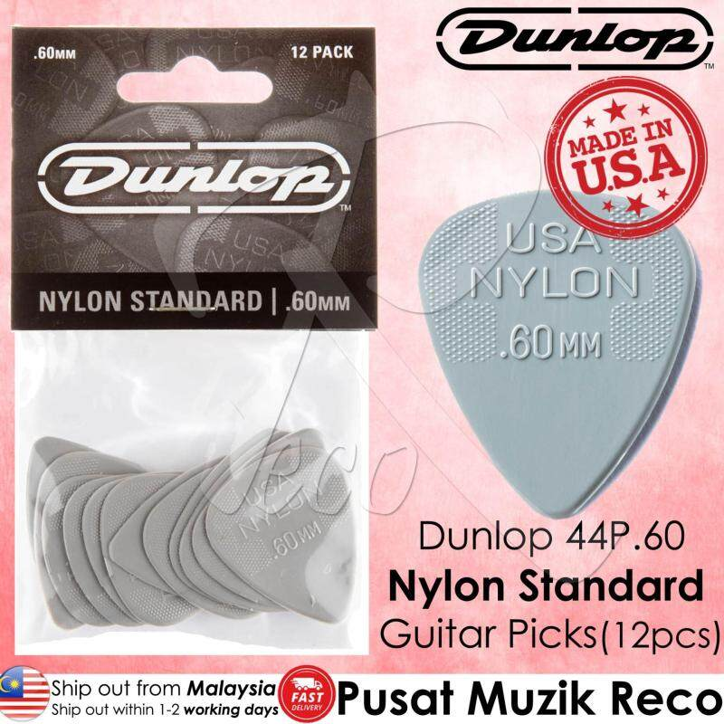 Dunlop 44P.60 Nylon Standard 0.60mm Light Grey Guitar Picks Player Pack MADE IN USA (12pcs) Malaysia