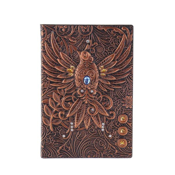 3D Notebook Vintage Printing Embossed Phoenix Travel Diary Notebook Journal Leather Gift Bible Book Handcraft