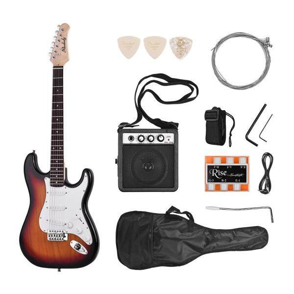 Muslady Electric Guitar Solid Wood Paulownia Body Maple Neck 21 Frets 6 String with Speaker Pitch Pipe Guitar Bag Strap Picks Right Hand Malaysia
