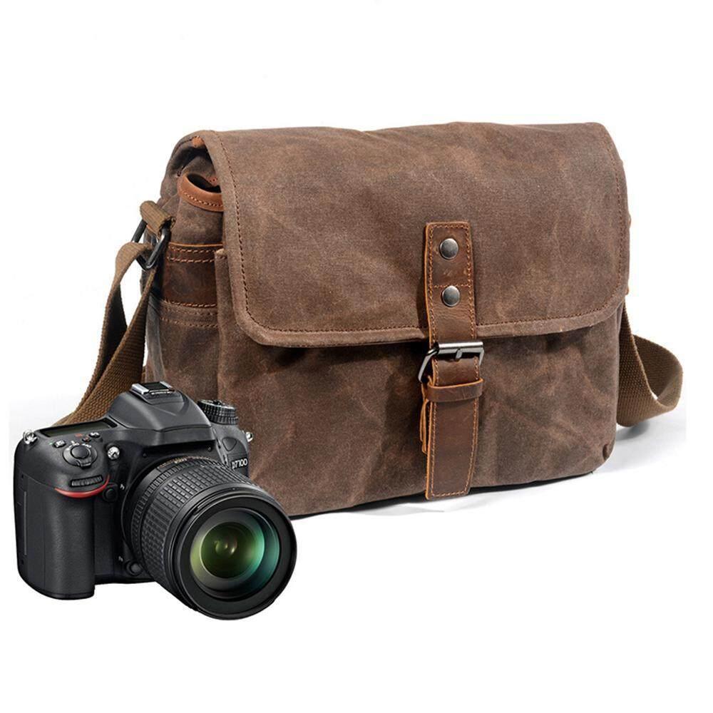 niceEshop Messenger Bag, Canvas Messenger Bag for Men, High Capacity Waterproof Leather Oil Wax Canvas Bag SLR Camera Bag Computer Laptop Anti-Crease Office Bag