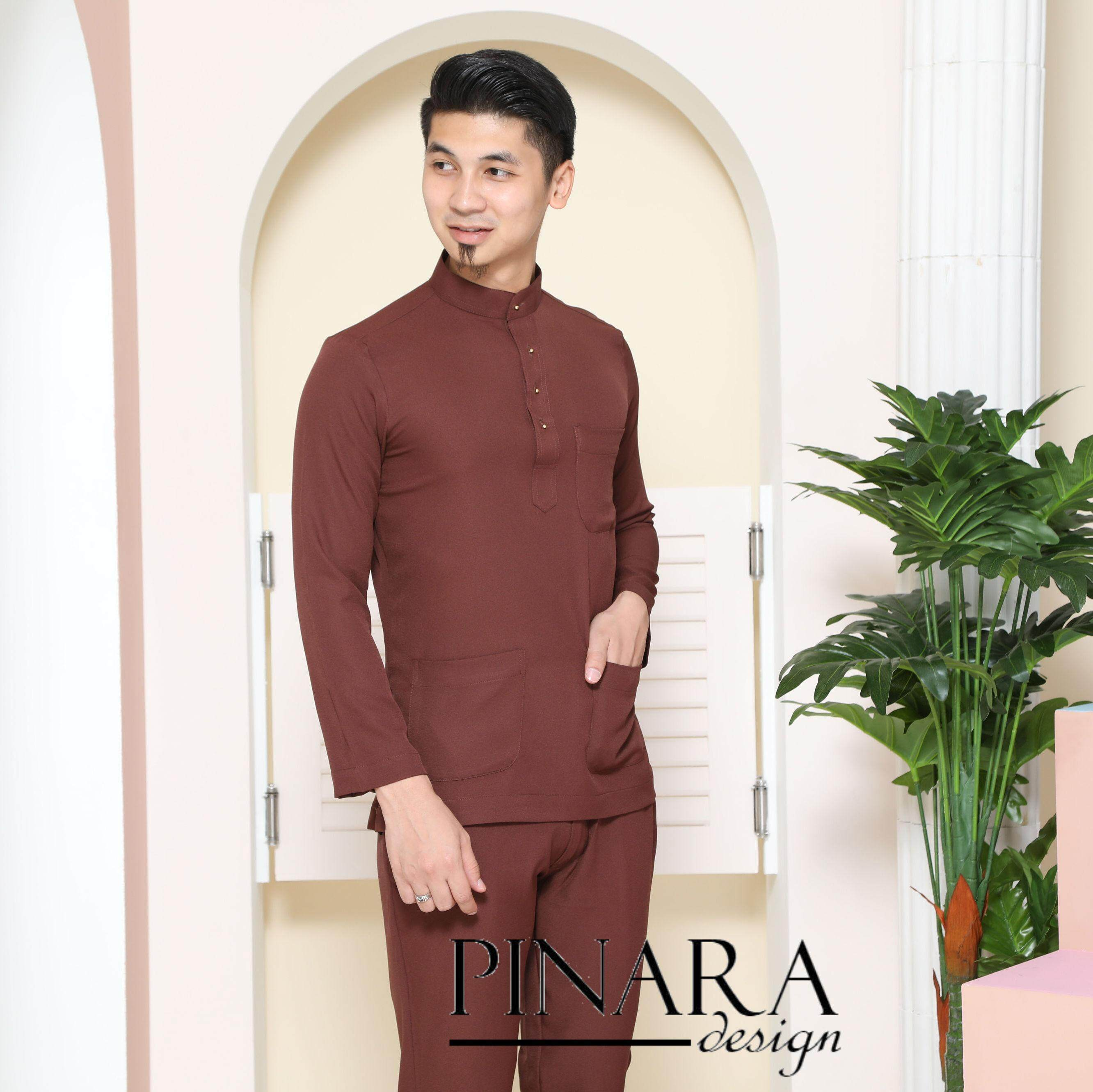 Baju Melayu Slim Fit (dark Brown) By Pinara Exclusive.