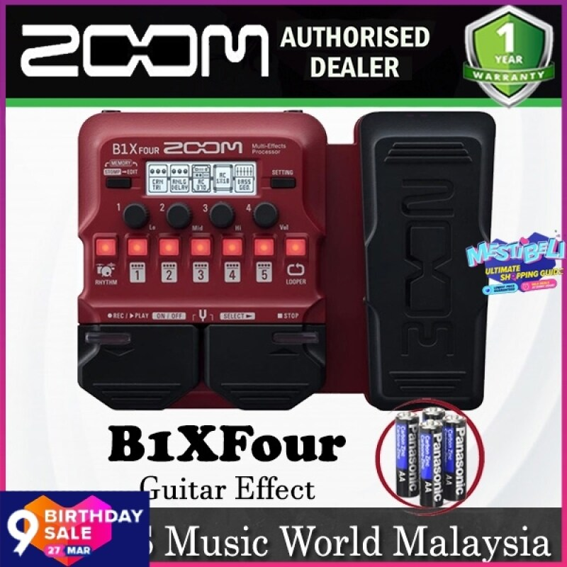 Zoom B1X FOUR Bass Multi Effects Processor with Expression Pedal for Bass Guitar (B1XFour B1 X) Malaysia