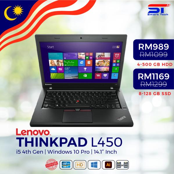 "🔥 LAPTOP MURAH 🔥 Lenovo ThinkPad L 450 - i5-4th Gen (4GB/8GB RAM | 500GB/120-128GB HDD/SSD) - 14.1"" INCH Malaysia"