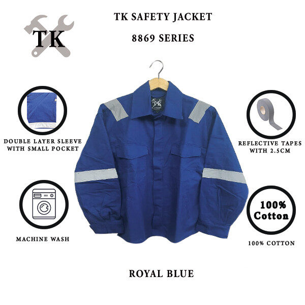 TK WELDING SAFETY JACKET WITH DOUBLE LAYER SLEEVE / BAJU KERJA WELDER DUA LAPIS LENGAN 8869 - ROYAL BLUE