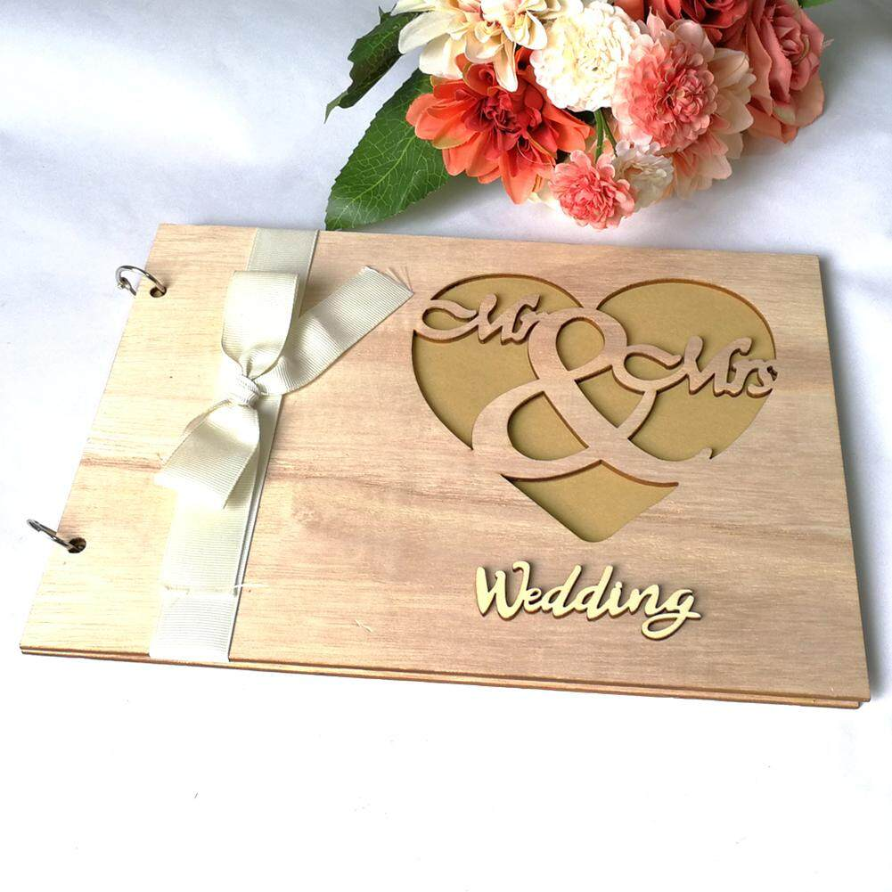 Craft Decoration Heart Wedding Hollow Out Wooden Party Signature DIY Home Photo Guest Book