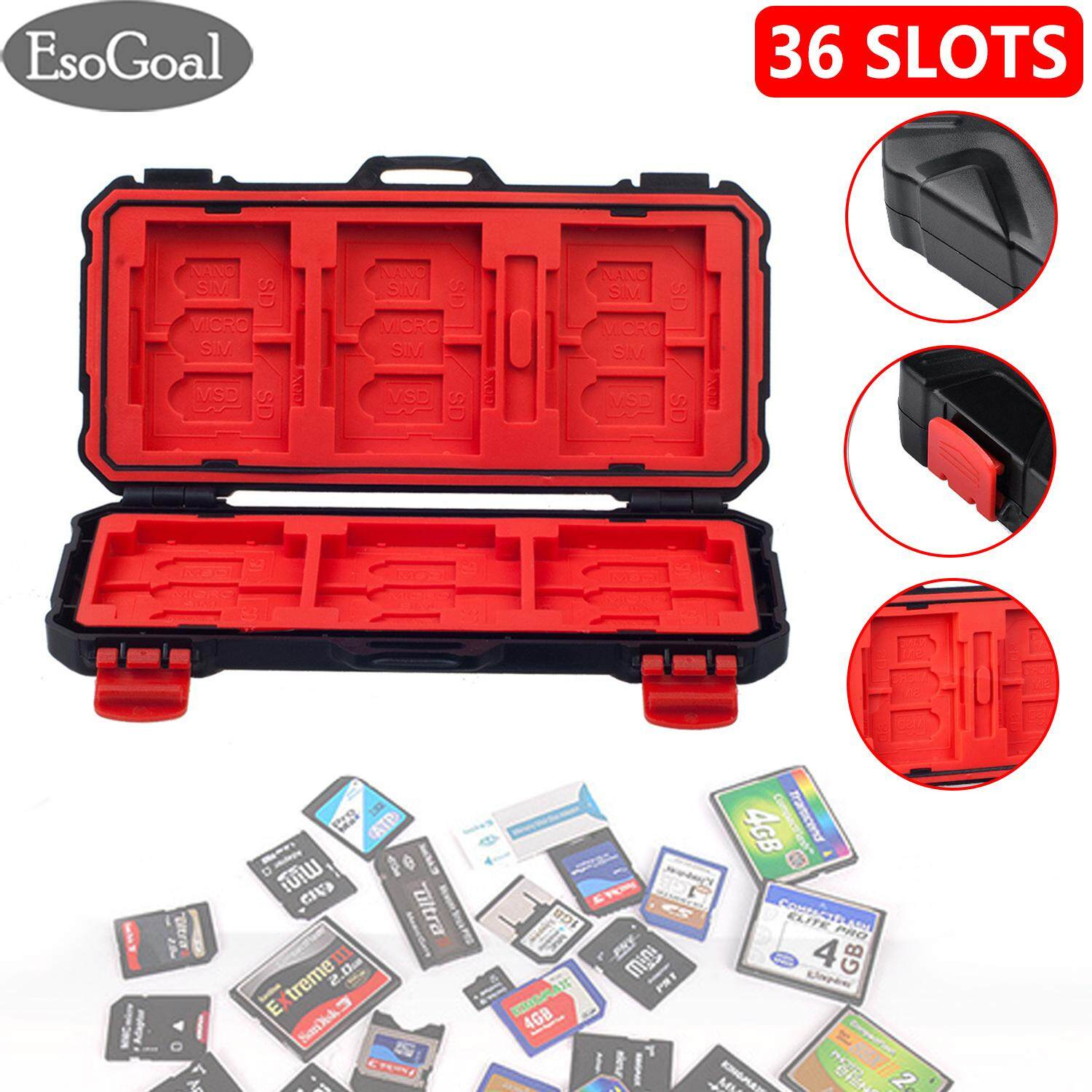 EsoGoal Memory Card Case SD Card Storage Box Protection Micro SD Card Holder Waterproof Shockproof TF SD CF Card Carrying Case Storage Box(36 Slots)