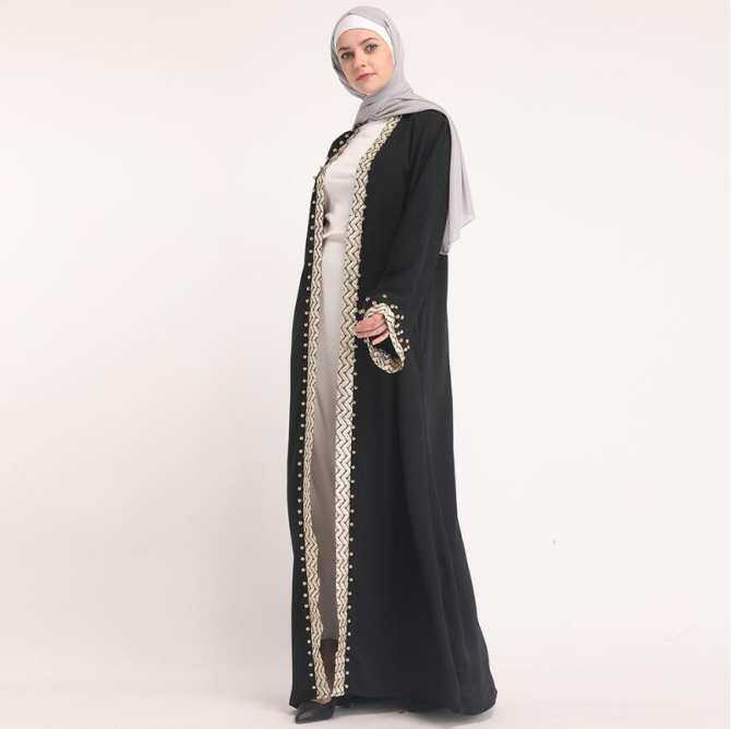 Đen Abaya Thổ Nhĩ Kỳ Dubai Nữ Đính Hạt Hồi Giáo Cardigan Kimono Ramadan Bangladesh Dài Áo Dây Hijab Dài Hồi Giáo Quần Áo