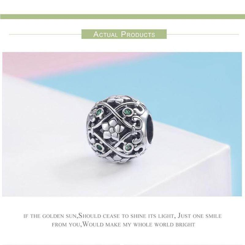 S925 pure silver beads girls decorative floral style trend decoration