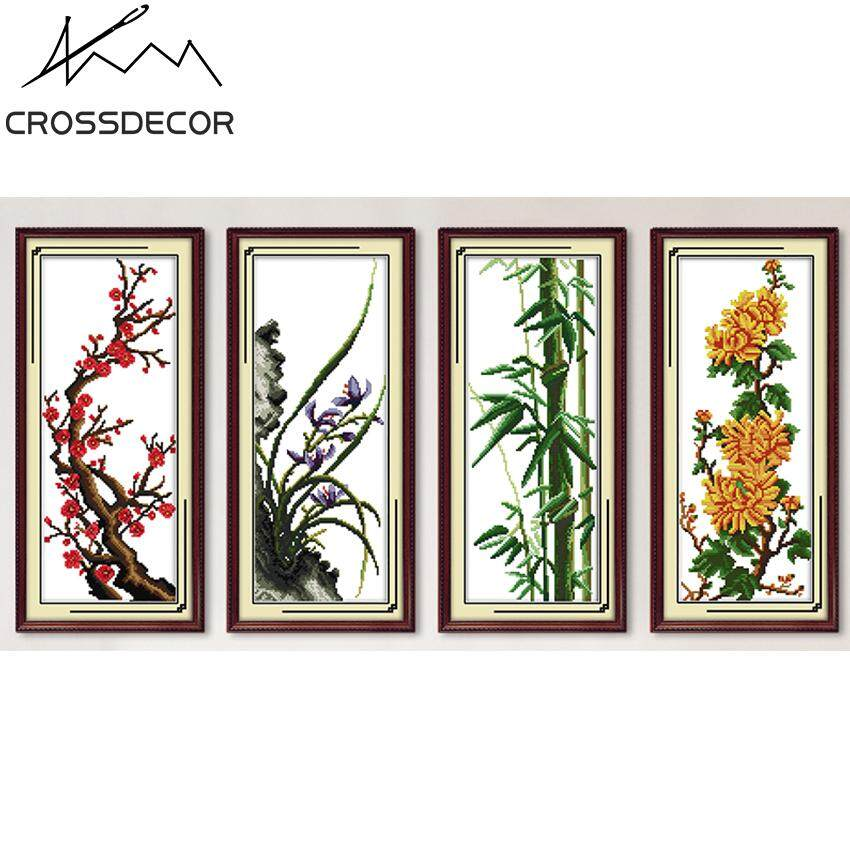 Plum  Orchid Bamboo Chrysanthemum Four Patterns Together Four Season Stamped Cross Stitch Set 11CT DIY Handmade Embroider Needlework DMC Threads Complete Kits Pattern Pre-Printed On the Cloth Home Room Decor