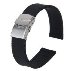 20mm Waterproof Lattice Pattern Silicone Watch Band Strap with Stainless Steel Deployment Clasp Buckle (Black) Malaysia