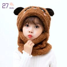 27Kids Baby San Hô Lông Cừu Mũ Cô Gái Mùa Đông Beanies Mũ Trùm Tai Dễ Thương Với Khăn Quàng Cho Trẻ Em 5-9 Tuổi