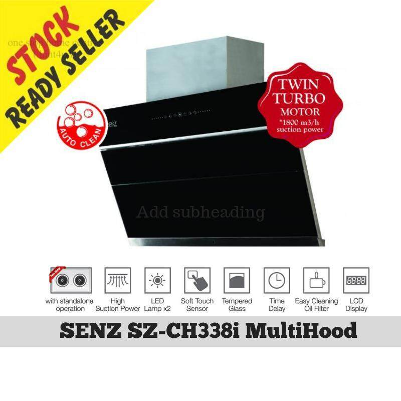 (2019 New) Senz Sz-Ch338i 2 Way Auto Clean Twin Turbo Motor Cooker Hood - Multihood (suction Power 1800 M3/h) By Sweet House.