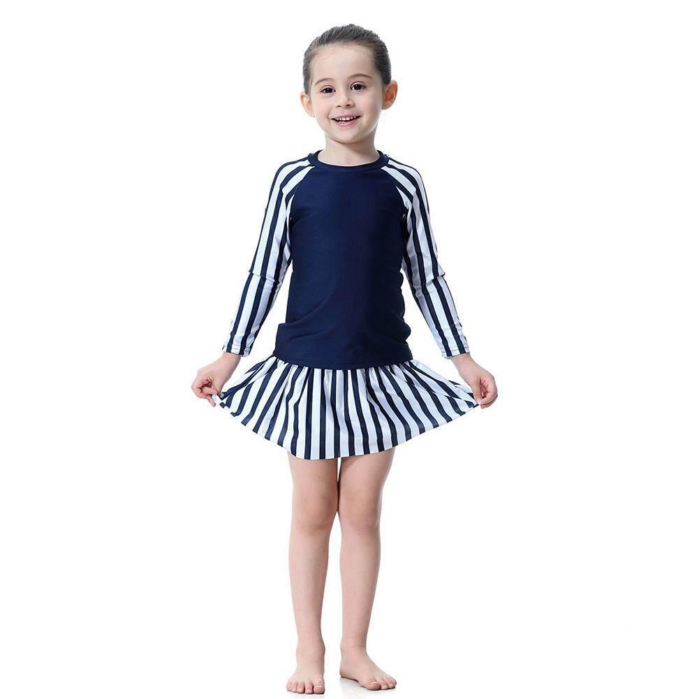 Giá bán Village Kids Girls Long Sleeve Top Skirt Hat Swimsuit Set