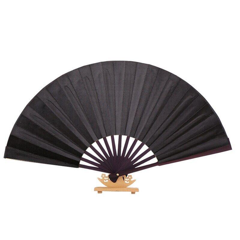 Fancyqube 8 Inch Vải Lụa Trống Trung Quốc Quạt Gấp Bằng Gỗ Tre Cổ Đại Quạt Gấp Cho Tranh Thư Pháp