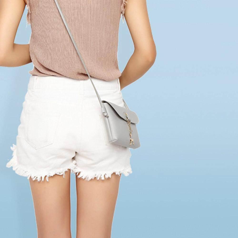 3afd306958 Women s Vintage Small Deer Pendant Leather Crossbody Shoulder Bag