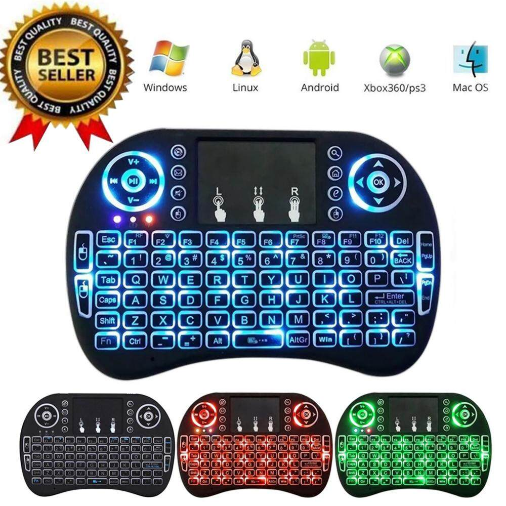 Sentexin Rii I8 Mini 2.4Ghz Wireless Touchpad Keyboard With Mouse For Windows, Android/Google/Smart TV, Linux, Mac OS, Blue Backlit
