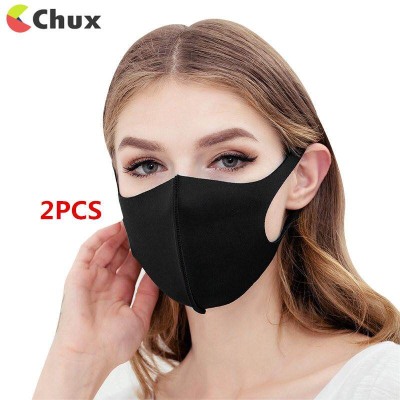Chux 2pcs Mouth Mask Pm2.5 Anti Haze Black Dust Mask Nose Filter Windproof Face Muffle Bacteria Flu Fabric Cloth Respirator By Chux.