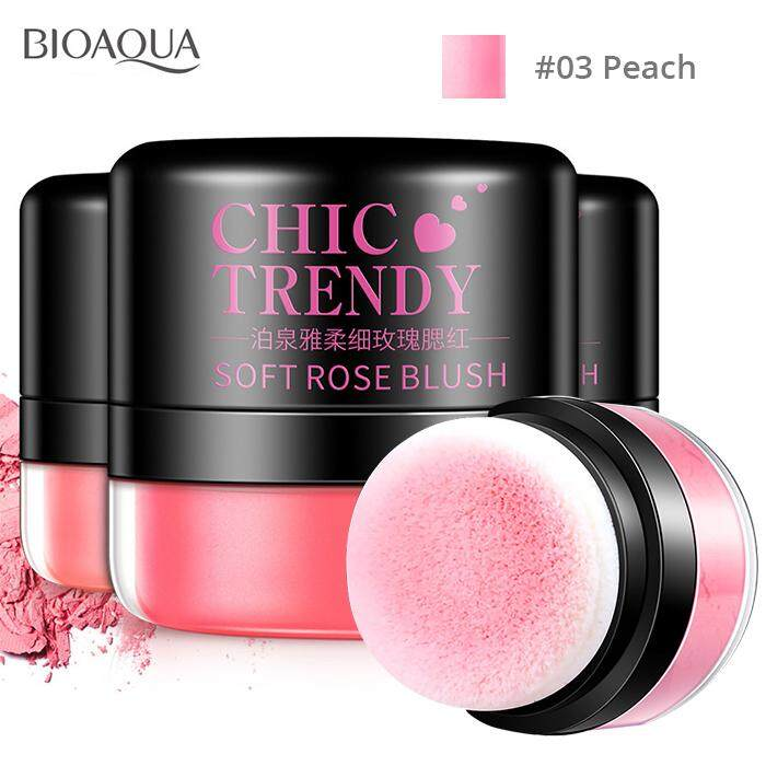 Bioaqua Chic Trendy Blush Soft Rose Blusher Powder Easy Makeup Puff By Mitoyos.