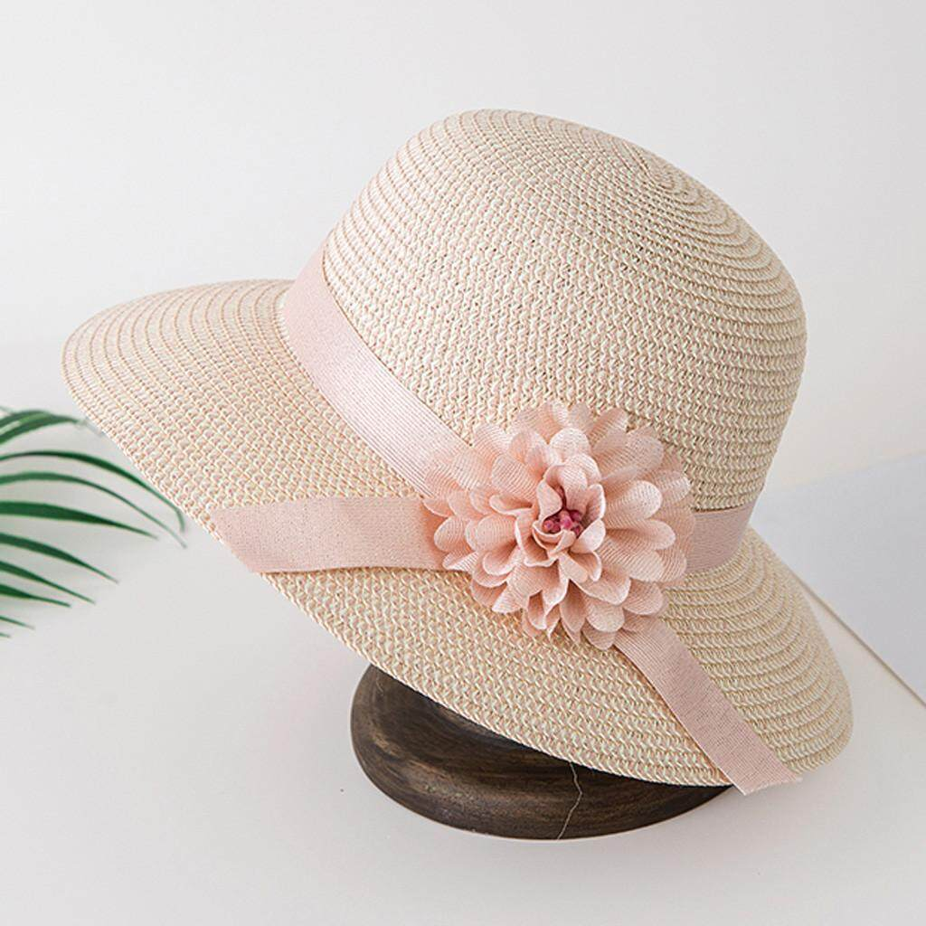 9863303e 〖Aihid Store〗 COD Ladies Wide Straw Foldable Travel Flower Sun Hat Summer  Beach Caps
