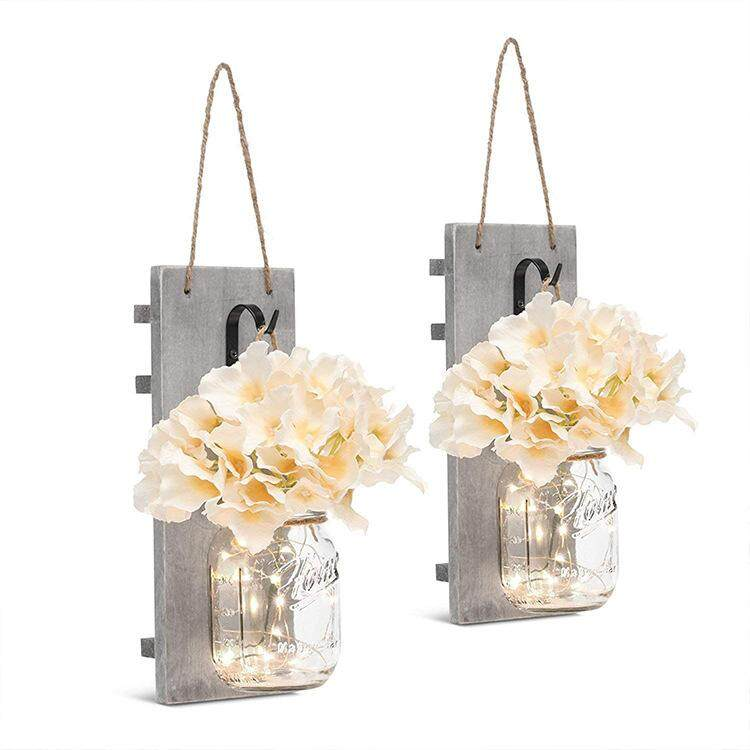 Big House 2Pcs Romantic Simulation Flowers LED Mason Jar With Hanging Wooden Board For Decor Style:Wooden board + mason bottle + flower + light