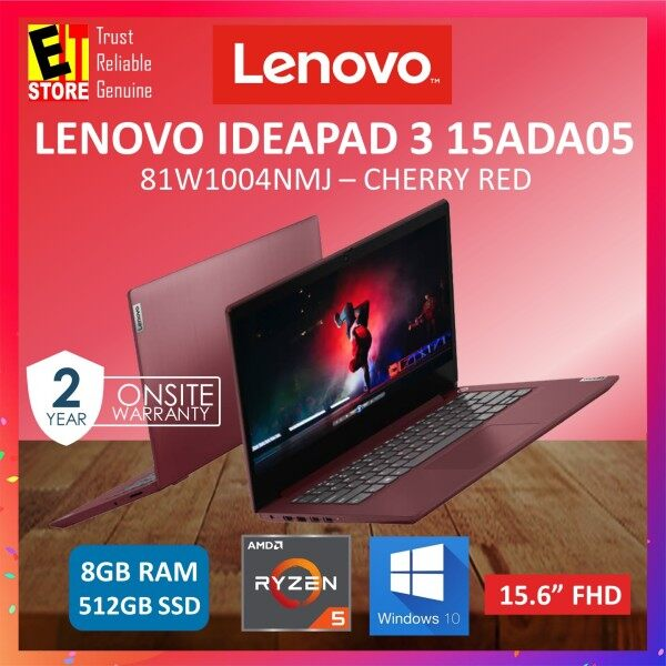 LENOVO IDEAPAD 3 IP3-15ADA05 (81W1004NMJ) LAPTOP -CHERRY RED (RYZEN 5 3500U/8GB/512GB SSD/15.6 FHD/AMD RADEON/W10/2YRS) + BAG WITH MS OFFICE HOME STUDENT Malaysia