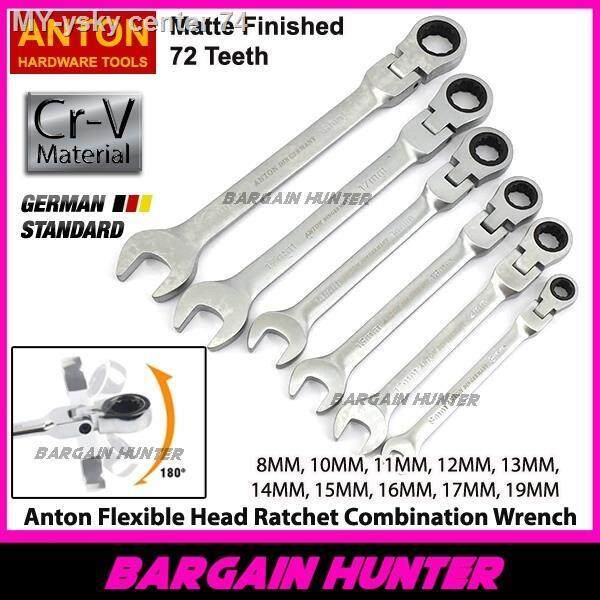 [ READY STOCK ] Anton Flexible Head Ratchet Spanner Hand Tools Chrome Vanadium Din Matte 72 Teeth / Alat Sepana