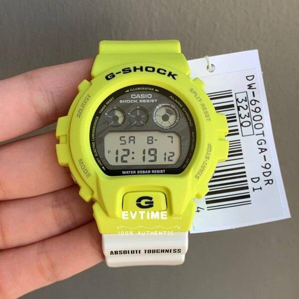 READY STOCK 100% ORIGINAL CASIO G-SHOCK DW-6900TGA-9DR / DW-6900TGA-9D / DW-6900TGA-9 / DW-6900TGA / DW-6900 ligh yellow and white resin band Malaysia