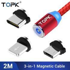 Cáp sạc điện thoại TOPK 3 trong 1 gồm Micro USB, USB Type C, Lightning dùng được cho Samsung, Xiaomi và Apple