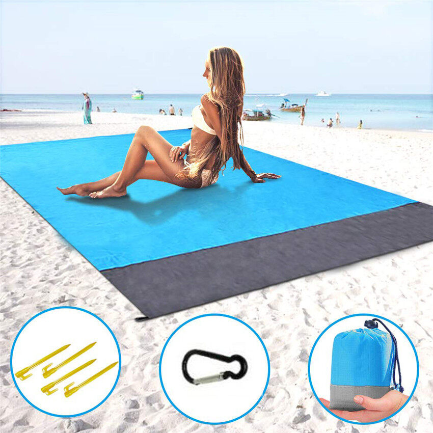 TTLIFE Picnic Blanket Waterproof Beach Mat Camping Travel Sand Free Rug Fixing Stake