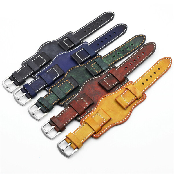 Cowhide Leather Watch Band  for Ome Ga Tis Sot Tray Bottom Universal Bracelet Handmade Vintage  Leather Strap Belt Watches Accessories Malaysia