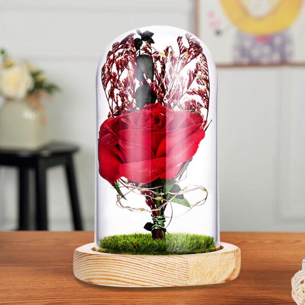 GUO LED Night Light Glass Cover Preserved Flower Creative Rose Lamp for Holiday Gift Home Decoration Ornaments
