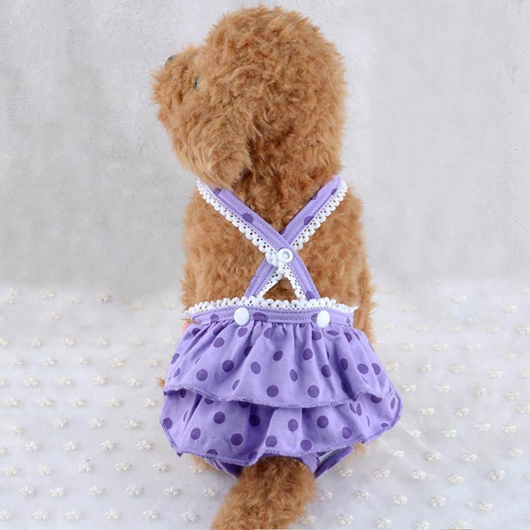 Chó Tã Có Thể Giặt Có Thể Tái Sử Dụng Vệ Sinh Pantie Đầm Chó Bông Tã với Suspender cho Nữ Chó, M - 1